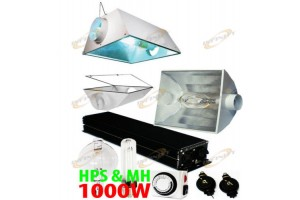 1000W Digital Ballast + HPS + MH Bulb + Metal Cool Hood Reflector  Grow Light System