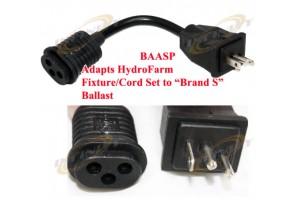 "BAASP 8"" Plug Adapter Cord Hydrofarm Fixture Cord to Brand S Ballast Receptacle"