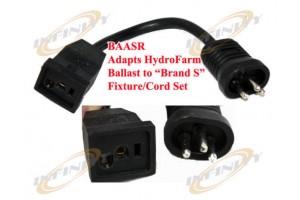"""BAASR 9-1/2"""" Adapter Cord Plug - Hydrofarm Ballast to Sunlight Hood Fixture"""