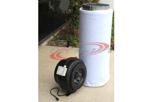 "12"" INLINE FAN BLOWER W/ CARBON FILTER CHARCOAL ODOR SCRUBBER HYDROPONICS"