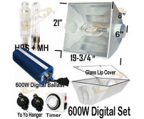 600W Digital Ballast + Metal Air Cool Reflector + MH HPS Grow Light System