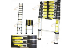 12.5 Ft Telescopic Aluminum Extension Ladder Max 300lbs Inspection ladder