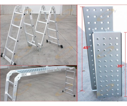 15.5 Ft Multi Purpose Aluminum Folding Step Platform Scaffold Ladder 330LB 15.5'
