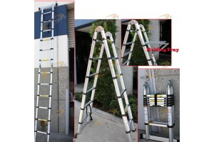12.5 Ft A-Type Multi-Purpose Extension Aluminum Telescoping Ladder 330lbs w/Tray