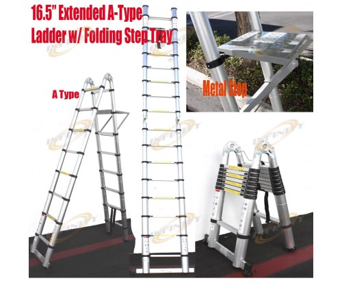 16.5 Feet A-Type Multi-Purpose Extension Aluminum Telescopic Telescoping Ladder