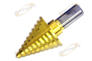 "10 steps Titanium Step Drill Bit 1/4"" to 1-3/8"" 1/8"""