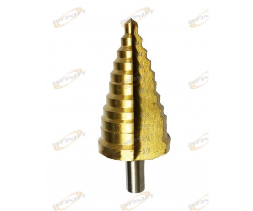 "11 Step Drill Bit 1/4"" to 1 3/8"" HSS Titanium Coated Faster, Smoother Cutting"