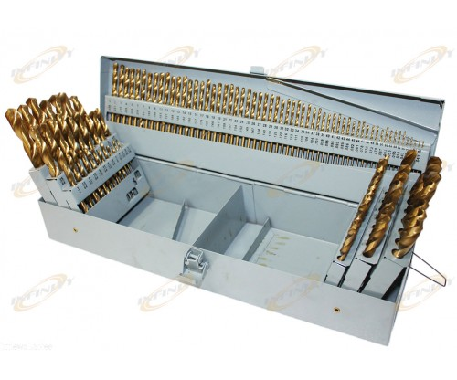 115PC TITANIUM COATED DRILL BITS w/INDEX A-Z Steel case