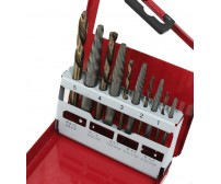 LEFT HAND 10 PC STEEL SCREW EXTRACTOR DRILL BITS W/ METAL BOX