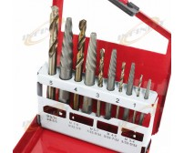 RIGHT HAND 10 PC STEEL SCREW EXTRACTOR DRILL BITS W/ METAL BOX