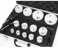 "18 PCS BI-METAL HOLE SAW SAWS KIT 13 Size: 3/4"" - 3-1/4"" W/ALUMINUM CASE"