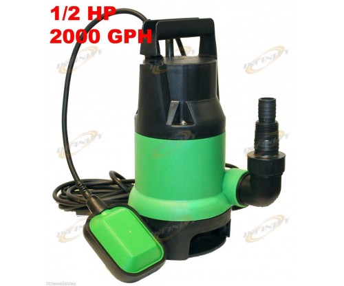 1/2HP 2000GPH Submersible Sump Pump Water Pumps Empty Pool Pond Flood w/25ft Cor