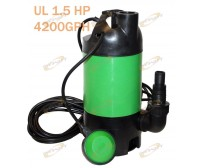 UL 1.5 HP 1100W Submersible Pool Pond Auto Drain Sub Water Pump 4200GPH Dirty/CL