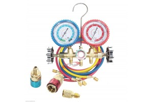 R134a R12 R22 AC A/C Manifold Gauge Kit w/ 5FT Colored Hose Air Conditioner Freon