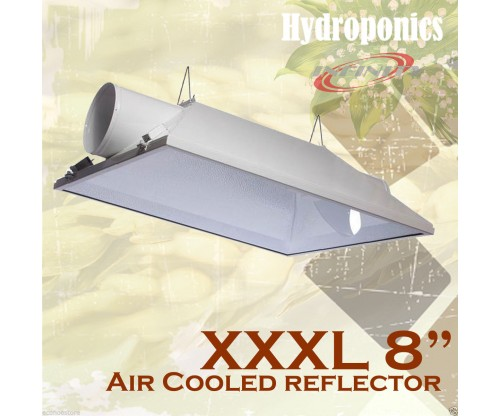 "8"" XXXL Large Lighting Reflector Air Cooled Hood Grow Light Hydroponics 36""x30"""