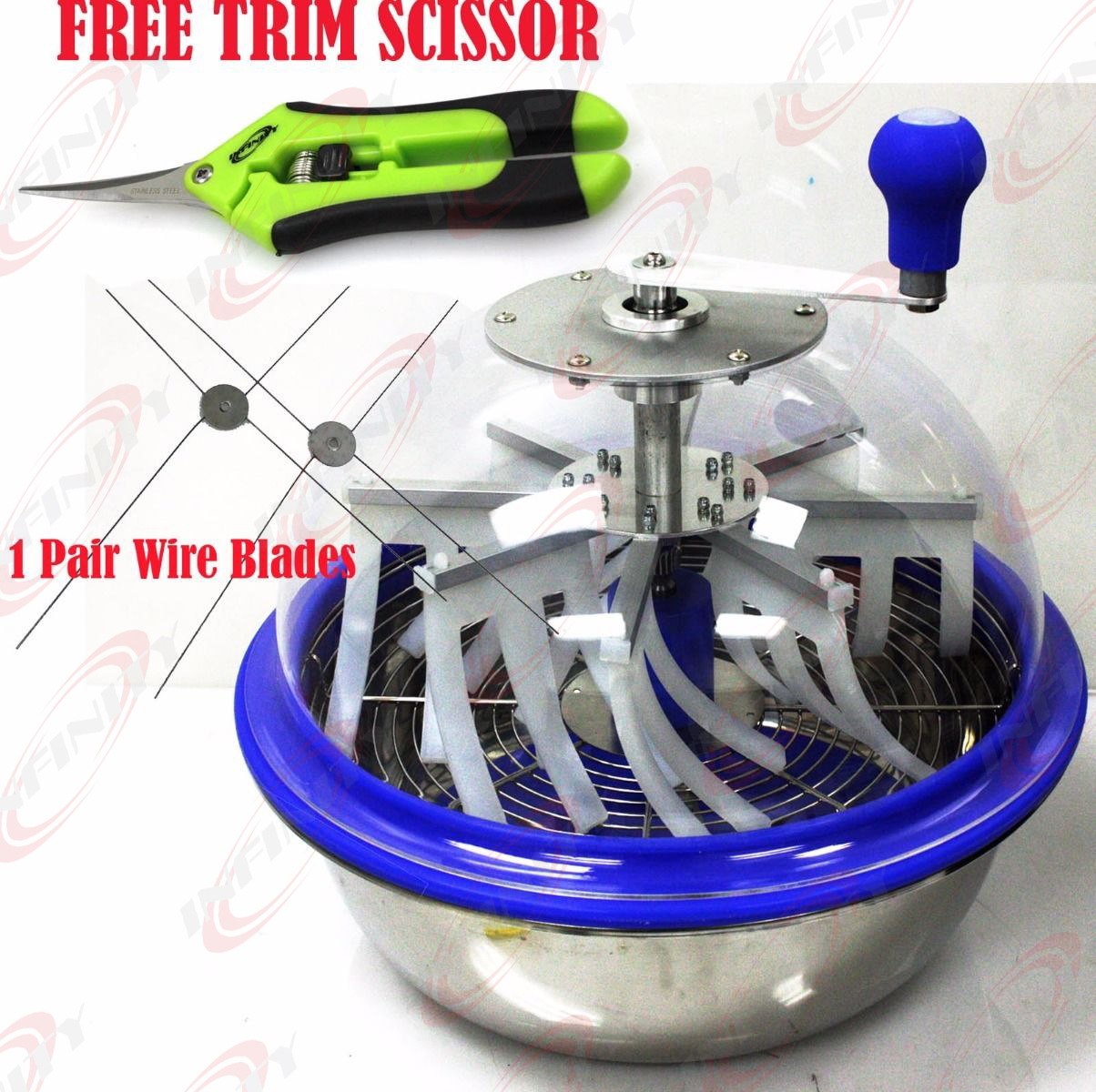 "16/"" Open Top Hand Crank Bowl Leaf Trimmer Trim Bud Leaf Trimming Pro Stainless"