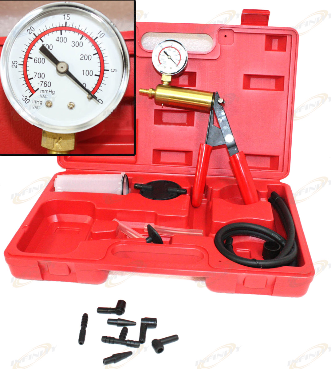 2 In 1 Brake Bleeder /& Vacuum Pump Gauge Test Tuner Kit Tools DIY Hand Tools New