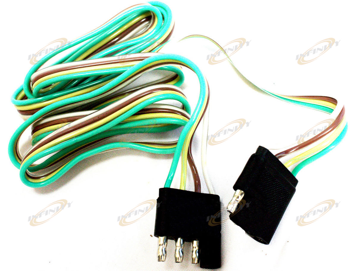 5 Ft 4 Way Flat Trailer Light Wire Extension Cord Plug Long Wiring An