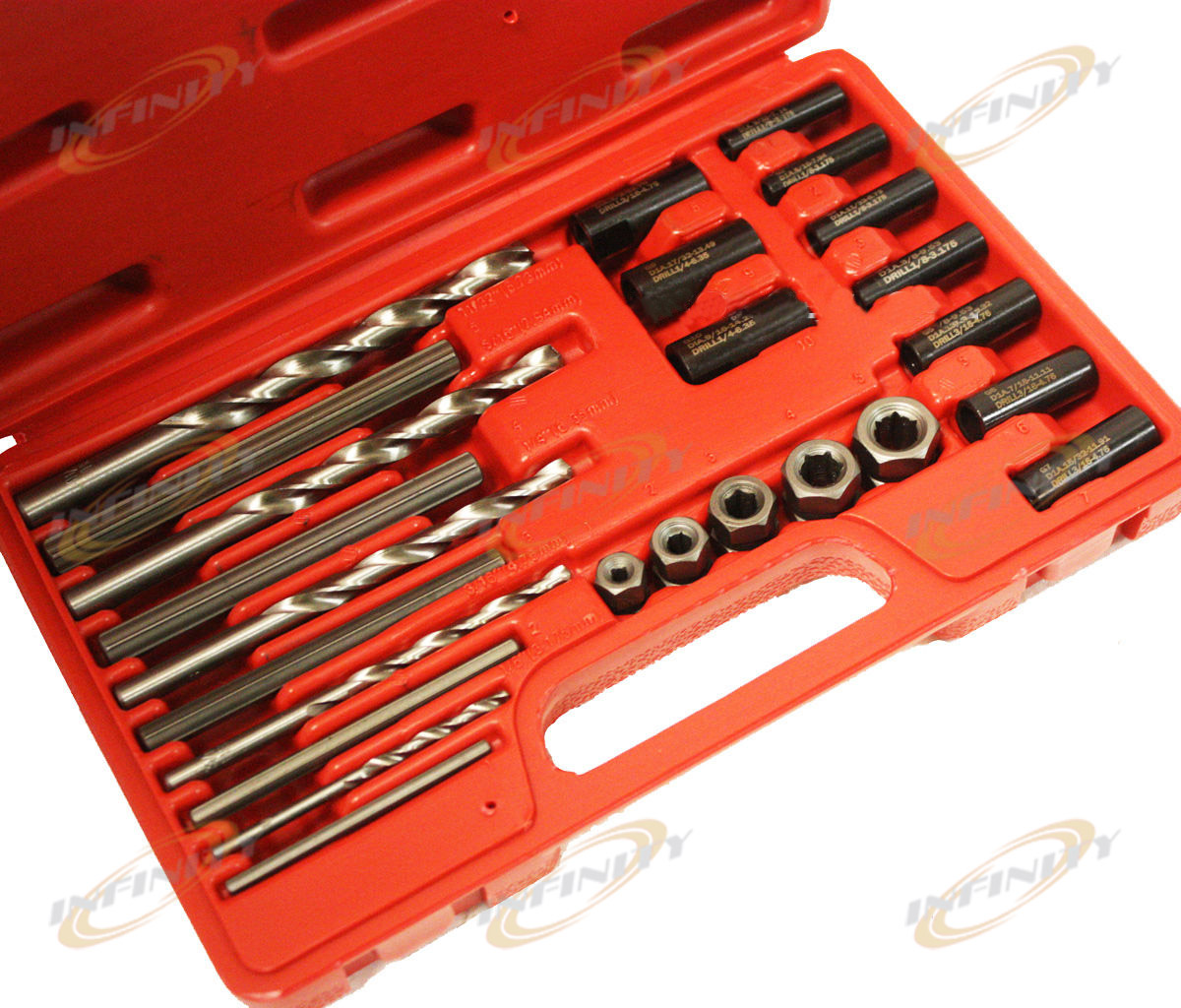 25pc Screw Extractor Drill Amp Guide Remove Broken Screws