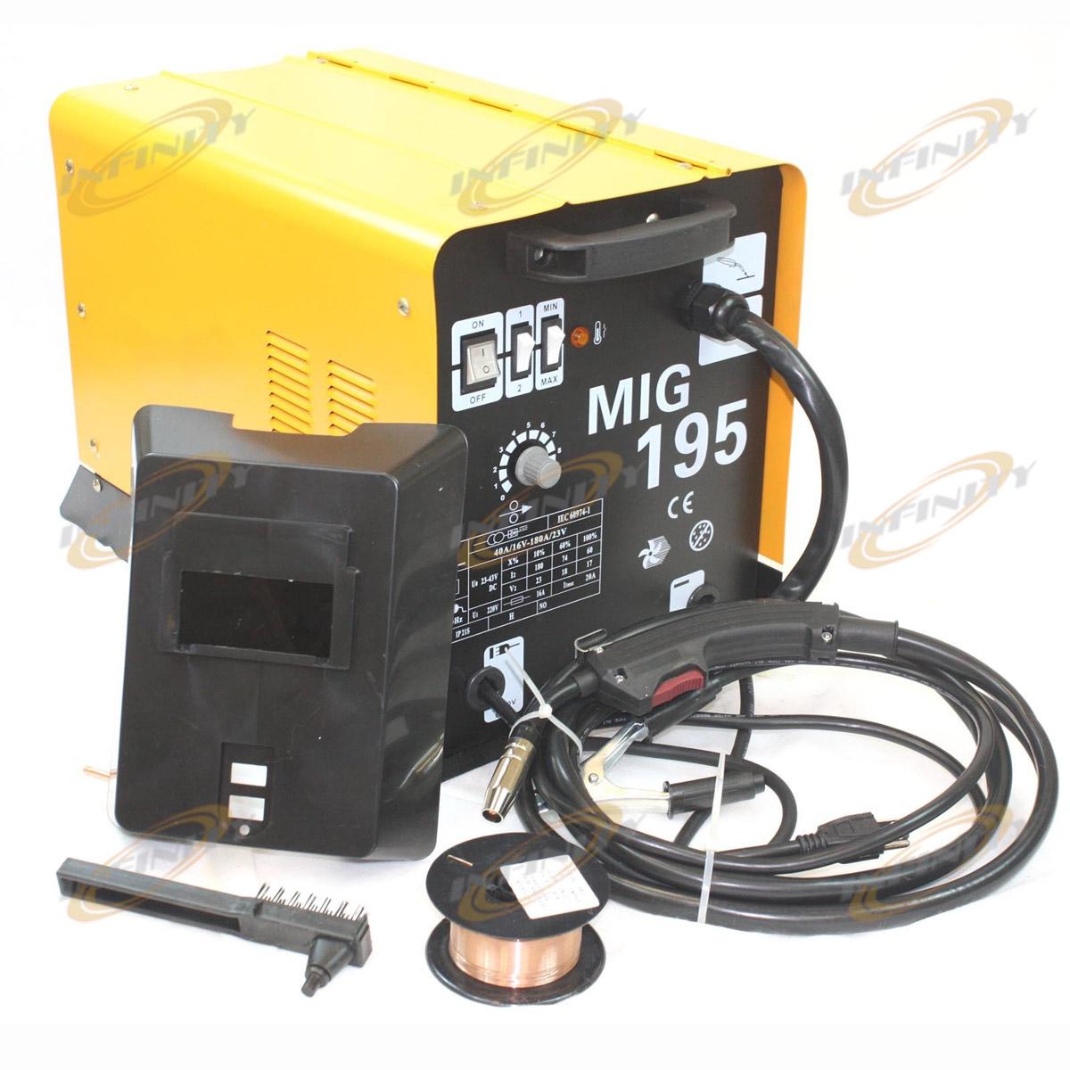 190AMP MIG 195 220V Flux Core Welding Machine Gas No Gas Welder Auto ...